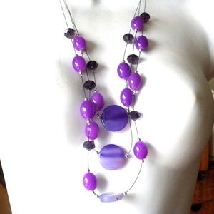 Long Cable Purple Necklace Glass Beads